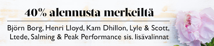 40 % alennusta merkeiltä Kam Dhillon, Ltede, Björn Borg, Salming, Lyle & Scott, Henri Lloyd & Peak Performance sis. lisävalinnat