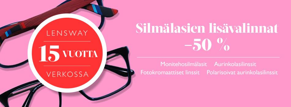 Silmälasien lisävalinnat -50 %